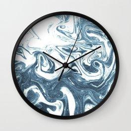Marble swirl suminagashi minimal ocean waves watercolor ink marbled japanese art Wall Clock