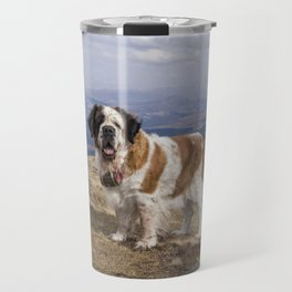 St Bernard dog on the mountain Travel Mug