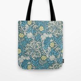 William Morris,art nouveau pattern, seaweed,blue,florals,vintage Tote Bag