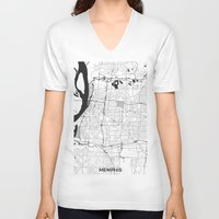 memphis V-neck T-shirts featuring Memphis Map Gray by City Art Posters