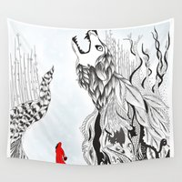 red riding hood Wall Tapestries featuring Red Riding Hood by Pixelnme