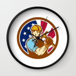 American Handyman USA Flag Icon Wall Clock