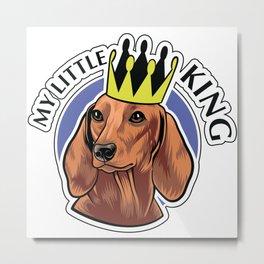 Brown dachshund king Metal Print