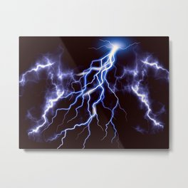 Blue Thunder Colorful Lightning graphic Metal Print