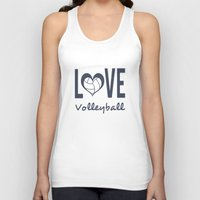 volleyball Tank Tops featuring Love Heart Volleyball (blue) by raineon