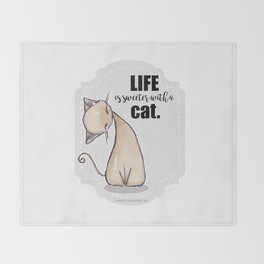 Life is Sweeter with a Cat Throw Blanket