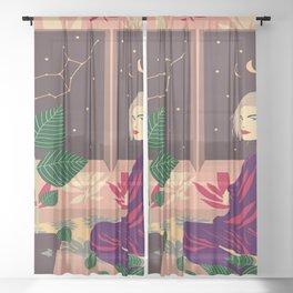 Virgo constellation Sheer Curtain