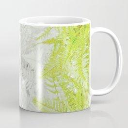 PALE GREEN & GREY ABSTRACT WOODLAND FERNS ART Coffee Mug