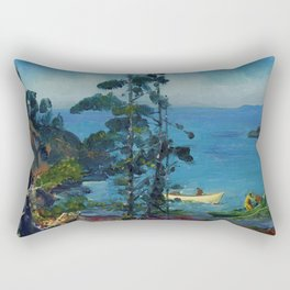 """George Wesley Bellows """"Evening Blue (Tending the Lobster Traps. Early morning)"""" Rectangular Pillow"""