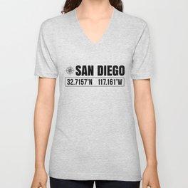 San Diego City GPS Coordinates Souvenir USA Travel Gift Idea Unisex V-Neck