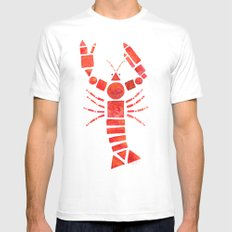 Geometric Lobster White MEDIUM Mens Fitted Tee