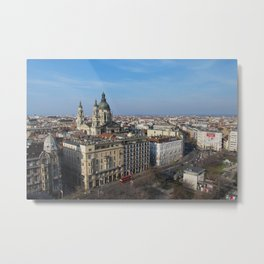 Panoramic view of Budapest and St. Stephen Basilica in Hungary Metal Print
