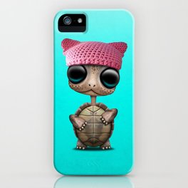 Cute Baby Turtle Wearing Pussy Hat iPhone Case