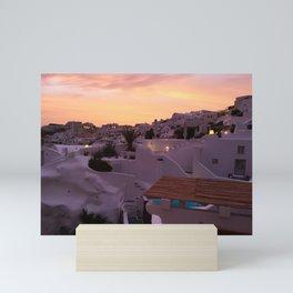 Oia, Santorini Greece at Sunset Mini Art Print