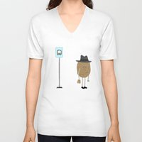 potato V-neck T-shirts featuring raw potato. by fernk