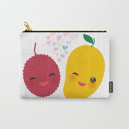 I love you Card design with Kawaii lychee and mango with pink cheeks and winking eyes Carry-All Pouch