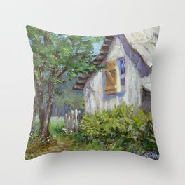 Whitewashed – Palette Knife Barn Painting Throw Pillow