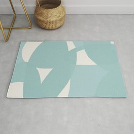 Abstract in dusty light blue and neutral shades Rug