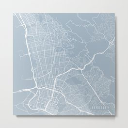 Berkeley Map, USA - Slate Metal Print