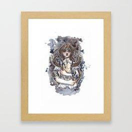 Larkspur Inktober Ink and Watercolor Illustration Framed Art Print