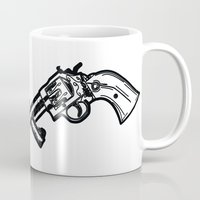 guns Mugs featuring Cross Guns by Calyx Studio