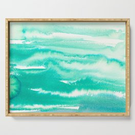 Modern hand painted teal turquoise watercolor brushstrokes Serving Tray