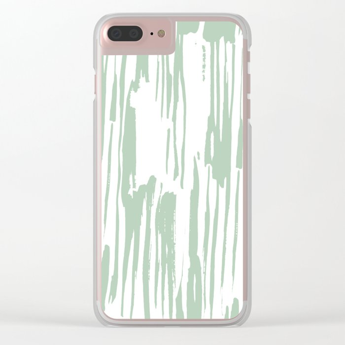 Bamboo Stripe Pastel Cactus Green White Clear iPhone Case