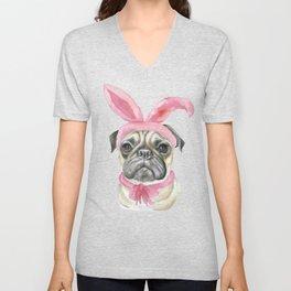 Pug with Bunny Ears Unisex V-Neck