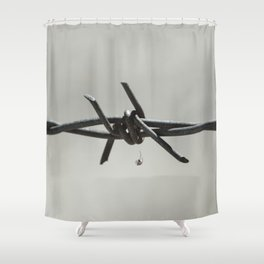 Spider on Barbed Wire in Black and White Shower Curtain