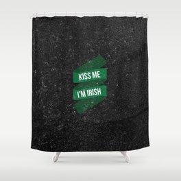 Retro Vintage Happy St Patricks Day Green Kiss ME Shower Curtain
