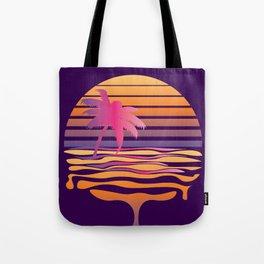 Retro striped sun and palm Tote Bag