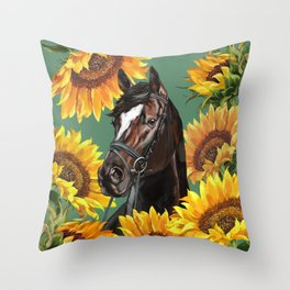 Horse with Sunflowers Throw Pillow