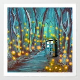 Tardis in the Glow Art Print