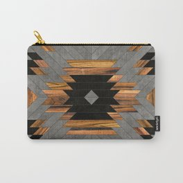 Urban Tribal Pattern 6 - Aztec - Concrete and Wood Carry-All Pouch