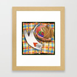 Cat Going for a Picnic series 1 Framed Art Print