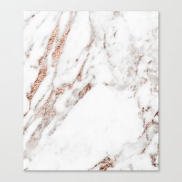 Rose gold foil marble Canvas Print