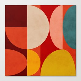 shapes of red mid century art Canvas Print