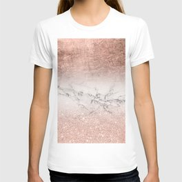 Modern faux rose gold glitter and foil ombre gradient on white marble color block T-shirt
