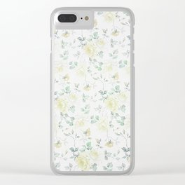 Bohemian baby yellow green vintage roses floral Clear iPhone Case