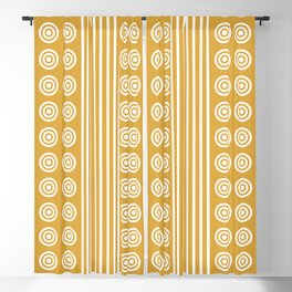 Geometric Golden Yellow & White Vertical Stripes & Circles Blackout Curtain