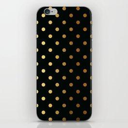 Gold polka dots on black pattern iPhone Skin