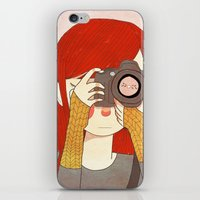 nan lawson iPhone & iPod Skins featuring Behind The Lens by Nan Lawson
