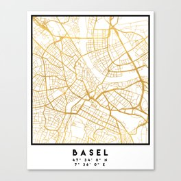 BASEL SWITZERLAND CITY STREET MAP ART Canvas Print