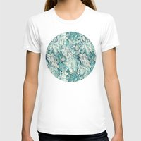 fig T-shirts featuring Fig Leaf Fancy - a pattern in teal and grey by micklyn