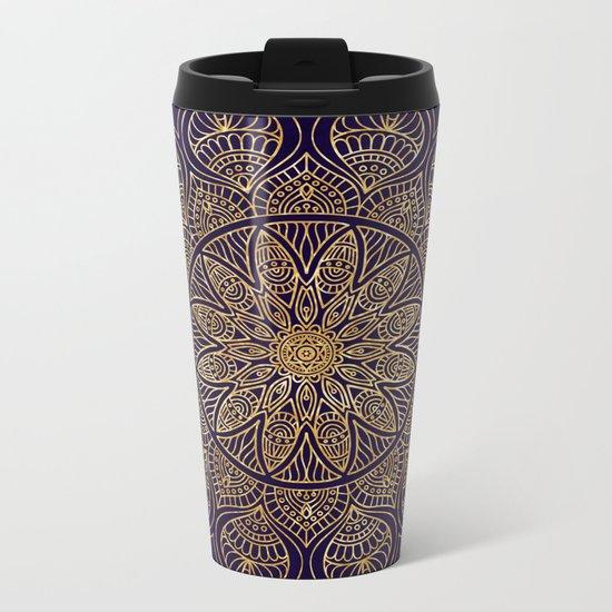 Gold Mandala Metal Travel Mug