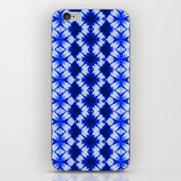 indigo shibori print iPhone Skin