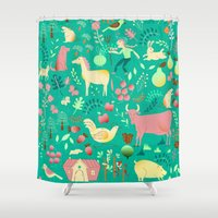 farm Shower Curtains featuring farm life by misslin