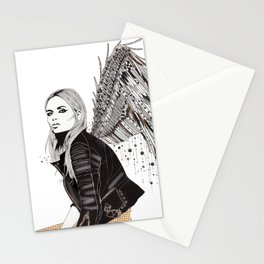 Flight - London Angel in Leather by Kristen Baker Stationery Cards