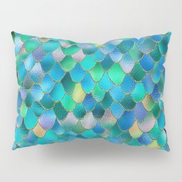 Summer Ocean Metal Mermaid Scales Pillow Sham