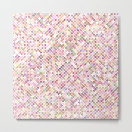 Happy Pastel Square Pattern Metal Print